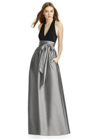 "Full length sleeveless dress w/ v-neck maracaine jersey bodice. 3"" attached sash at natural waist. Pockets at side seams of shirred peau de soie skirt. Dress available w/any color maracaine jersey bodice and any color peau de soie skirt. Sash always matches skirt."