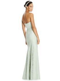 Full length strapless matte chiffon dress w/ pleated bodice and sweetheart neckline. Marquis lace trumpet skirt