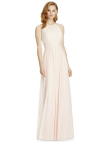 Full length lux chiffon dress w/ gathered halter neckline and triangle cut out detail at back. Shirred inset midriff at natural waist. Shirred skirt