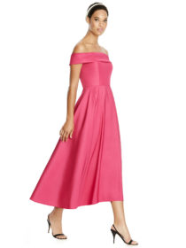 Midi length strapless mikado dress w/ cuff detail at neckline. Circle skirt w/ subtle hi-low hem