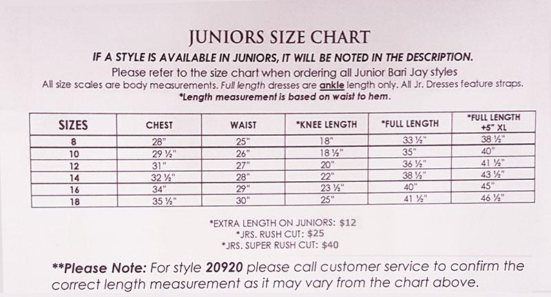 Bari Jay Juniors Sizes